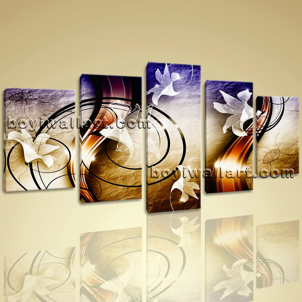 modern living room canvas art best seating arrangements large unique abstract wall 5 pieces prints