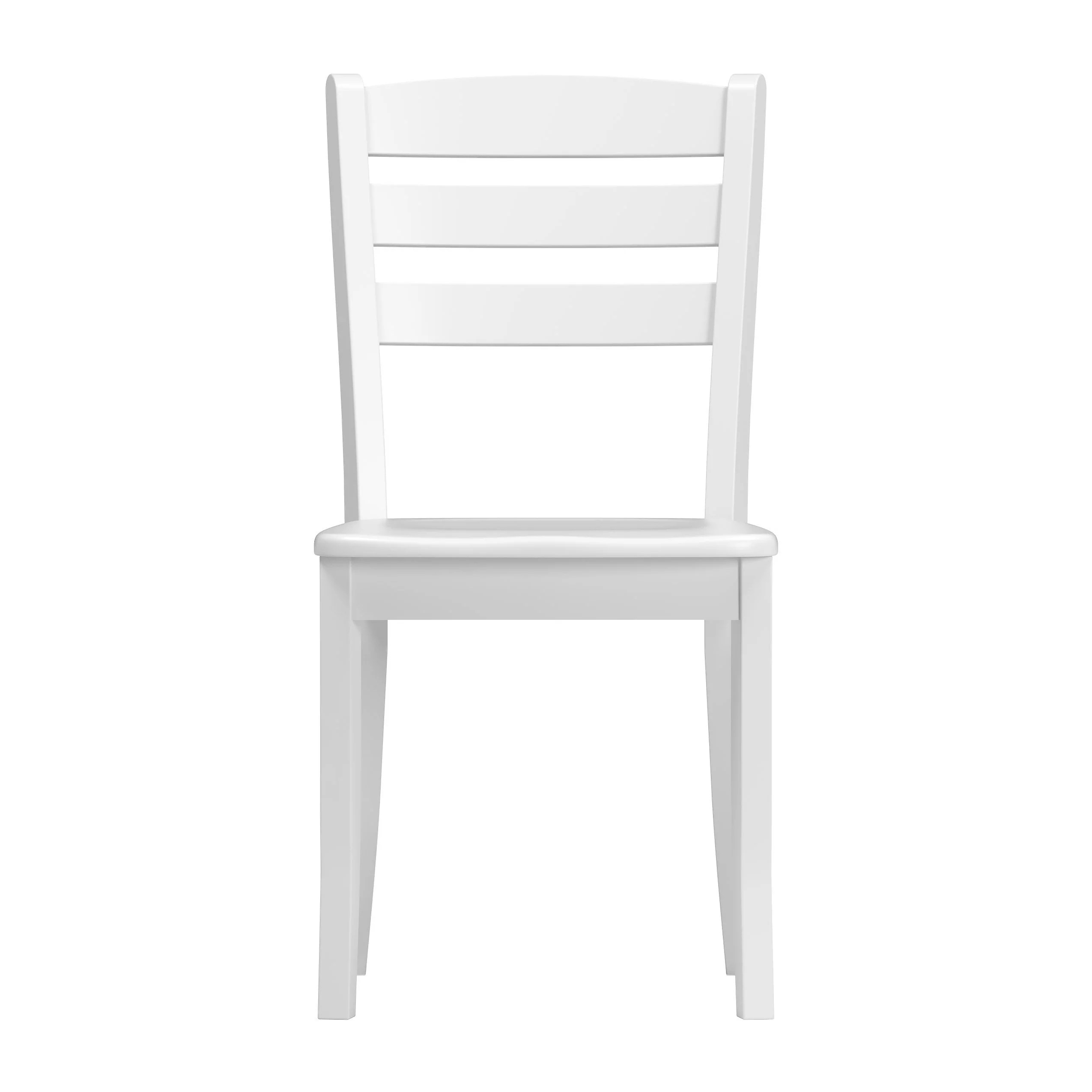 White Wooden Dining Chairs Stained Solid Wood Dining Chairs With Horizontal Slat Backrest Set Of 2