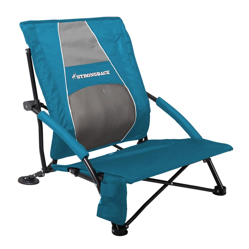 low back chairs for concerts four furniture strongback gravity beach chair blue and grey