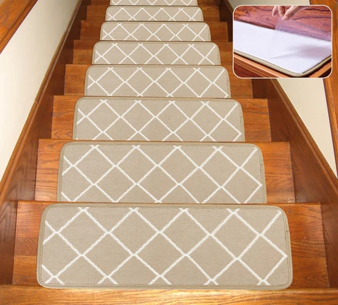 Seloom Non Slip Washable Stair Treads Carpet With Skid Resistant Rubbe   Stair Treads For Carpeted Steps   Carpet Protectors   Skid Resistant   Bullnose Carpet   Anti Slip Stair   Wood