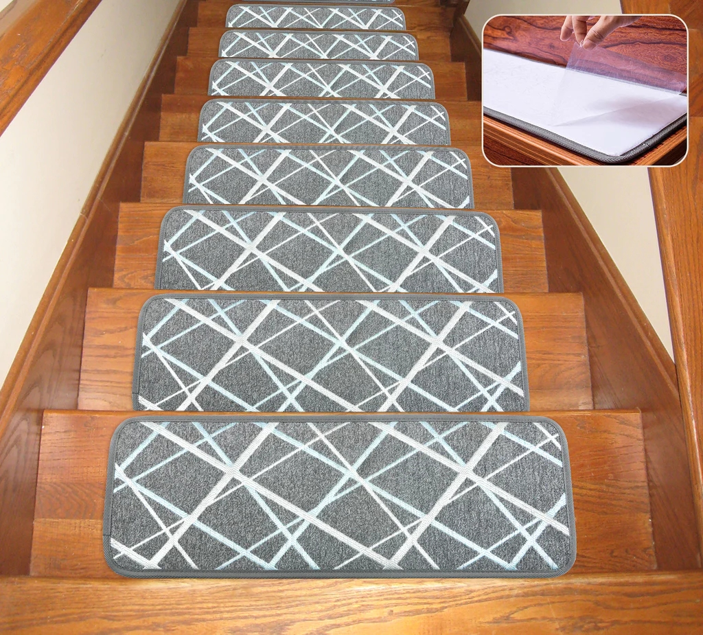 Seloom Non Slip Washable Stair Treads Carpet With Skid Resistant Rubbe | Modern Carpet Stair Treads | Beige Carpet | Wood | Basement Stairs | Grey | Modern Trellis