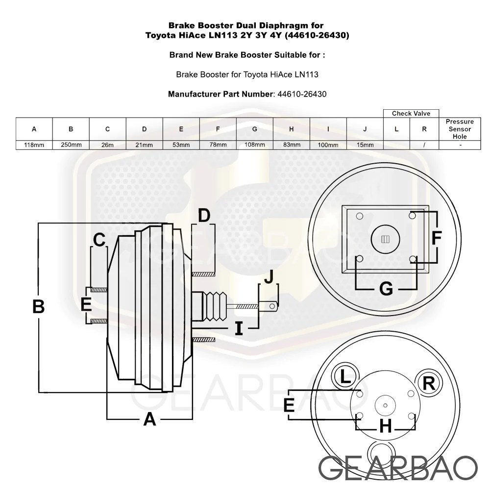 load image into gallery viewer brake booster dual diaphragm for toyota hiace ln113 2y 3y [ 1000 x 1000 Pixel ]