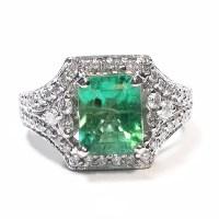 2.91 Carats Vintage Colombian Emerald Diamond Engagement ...