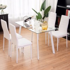 4 Chairs In Living Room Modern Tv Wall Units Giantex 5pcs Dining Set Tempered Glass Top Table Kitchen Furniture White New
