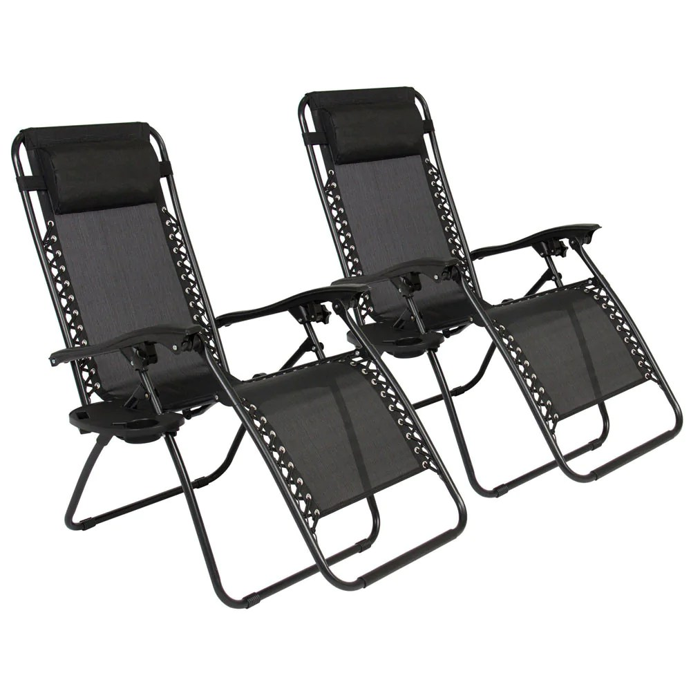 Patio Folding Chairs 2pc Zero Gravity Chairs Lounge Patio Folding Recliner Outdoor Yard Beach Black