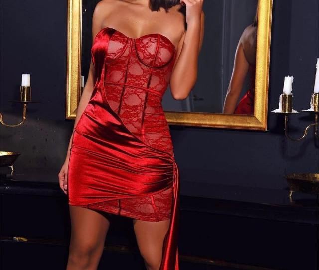 Lace And Satin Dropped Mini Dress Women Strapless Elegant Red