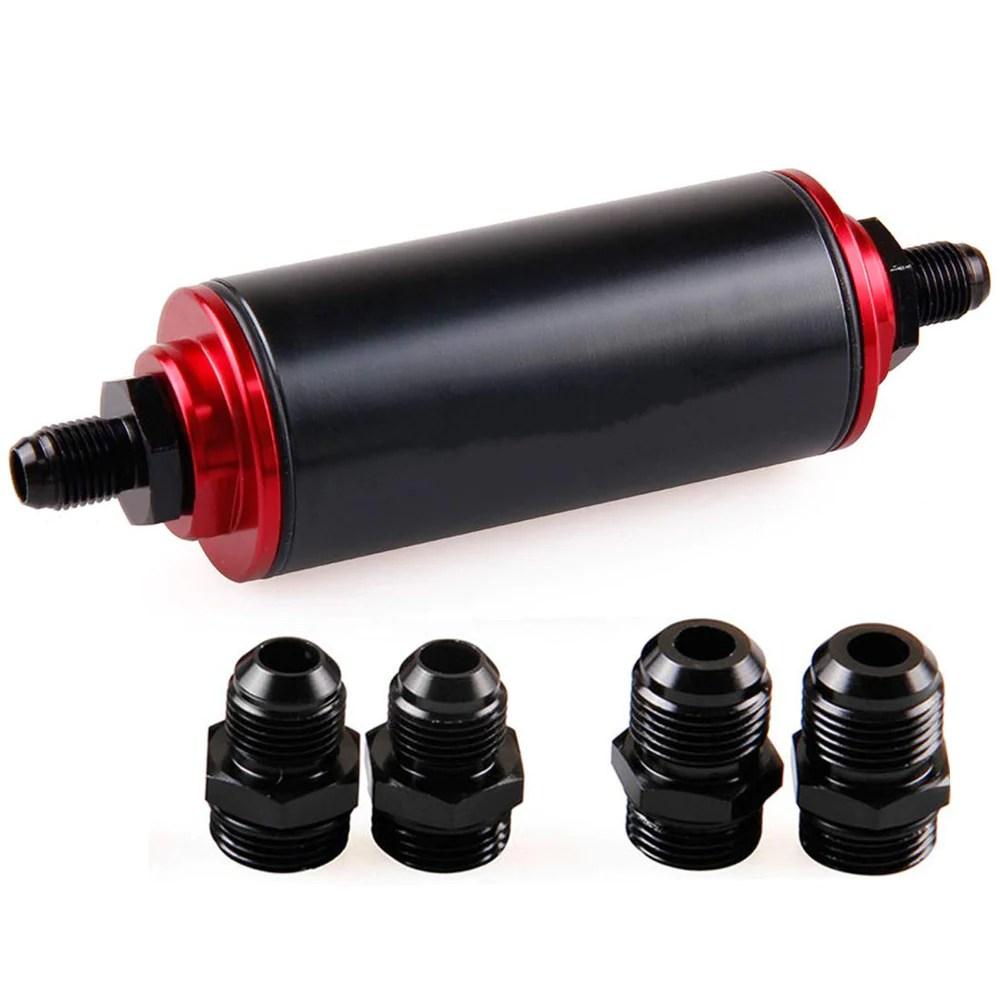 ifjf 50mm 100 micron cleanable inline fuel filter universal high flow turbo 6an 8an 10an adapter [ 1000 x 1000 Pixel ]