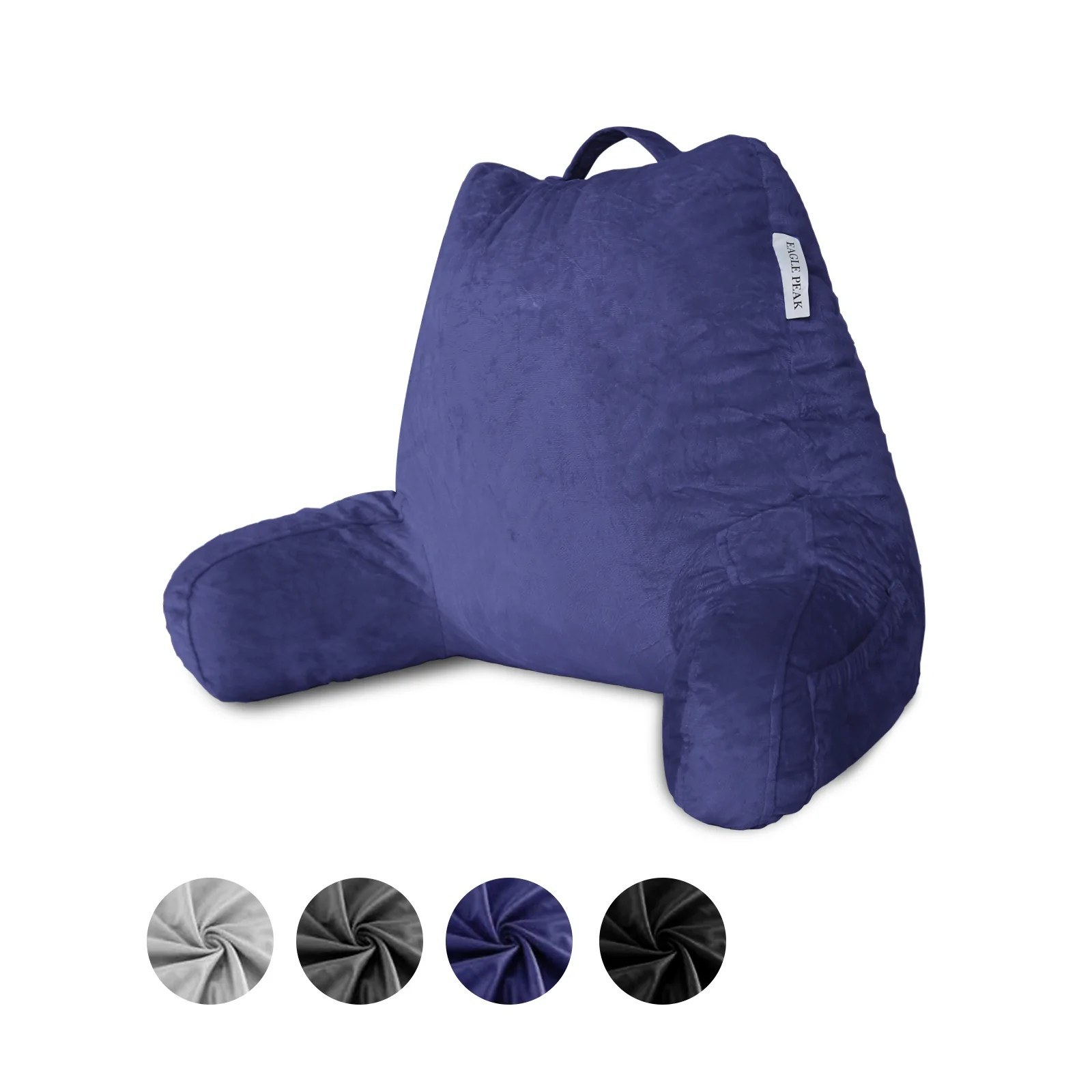 https www eaglepeak com products eagle peak medium shredded memory foam reading pillow bed rest pillow with arms and pockets removable cover back support cushion for adults teens while reading watching tv relaxing