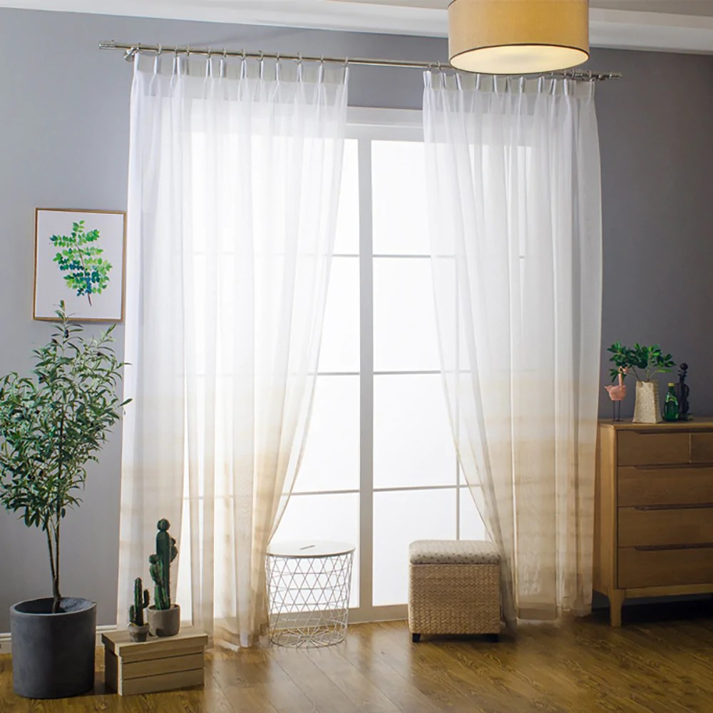 orange yellow gradient sheer curtains white voile drapes for bedroom 1 set of 2 panels