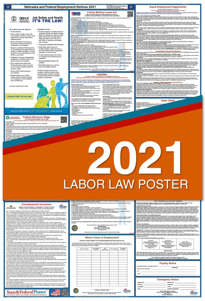 nebraska state and federal labor law poster 2021