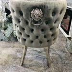 Valentino Silver Grey Quilted Velvet Chrome Leg Lion Knockerback Dinin Ar Furnishings