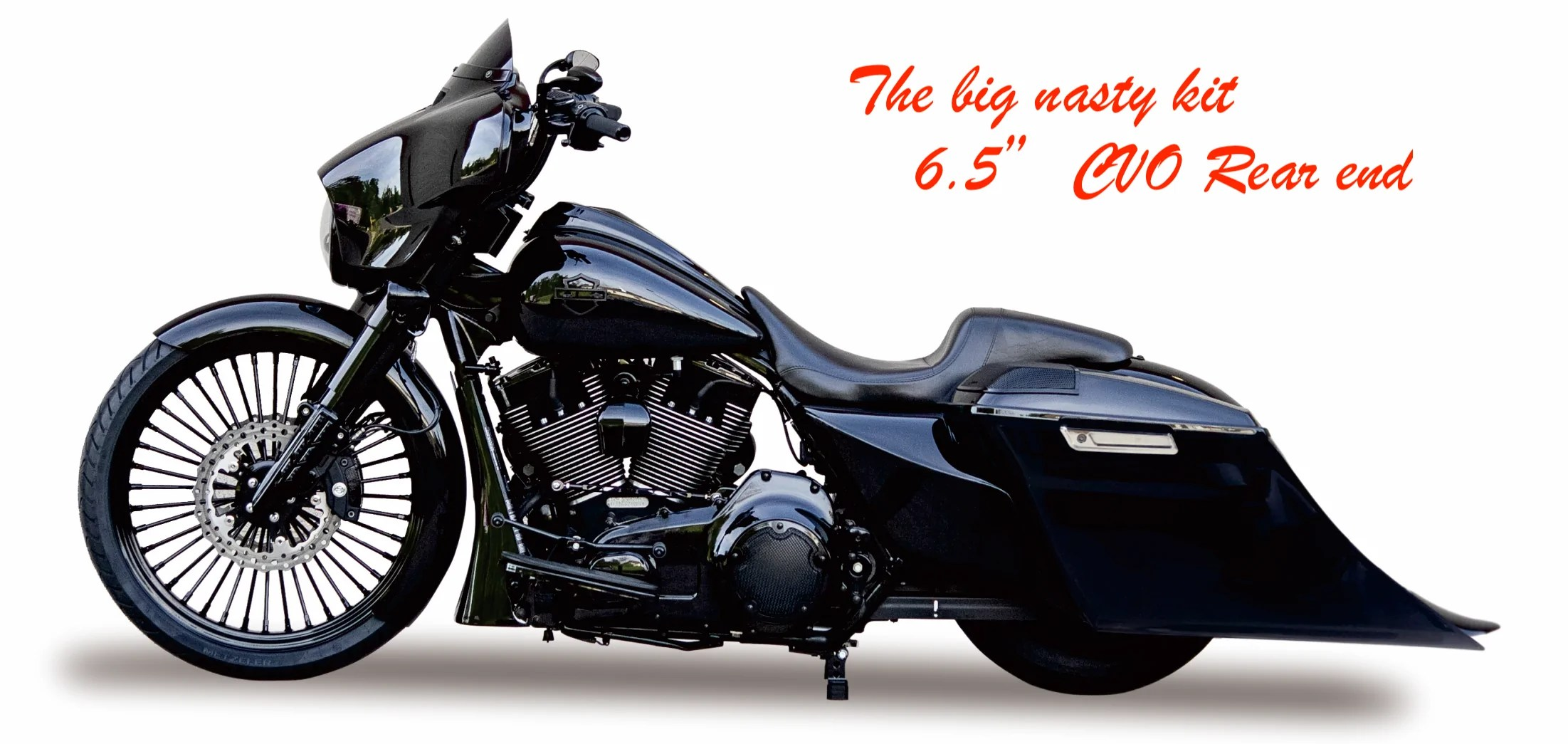 big nasty cvo style rear fender saddlebags for 2014 2019 harley touring models come with color matched  [ 2203 x 1045 Pixel ]