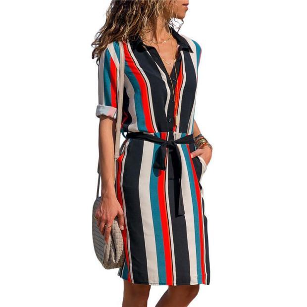 Striped Print A-line Mini Dress