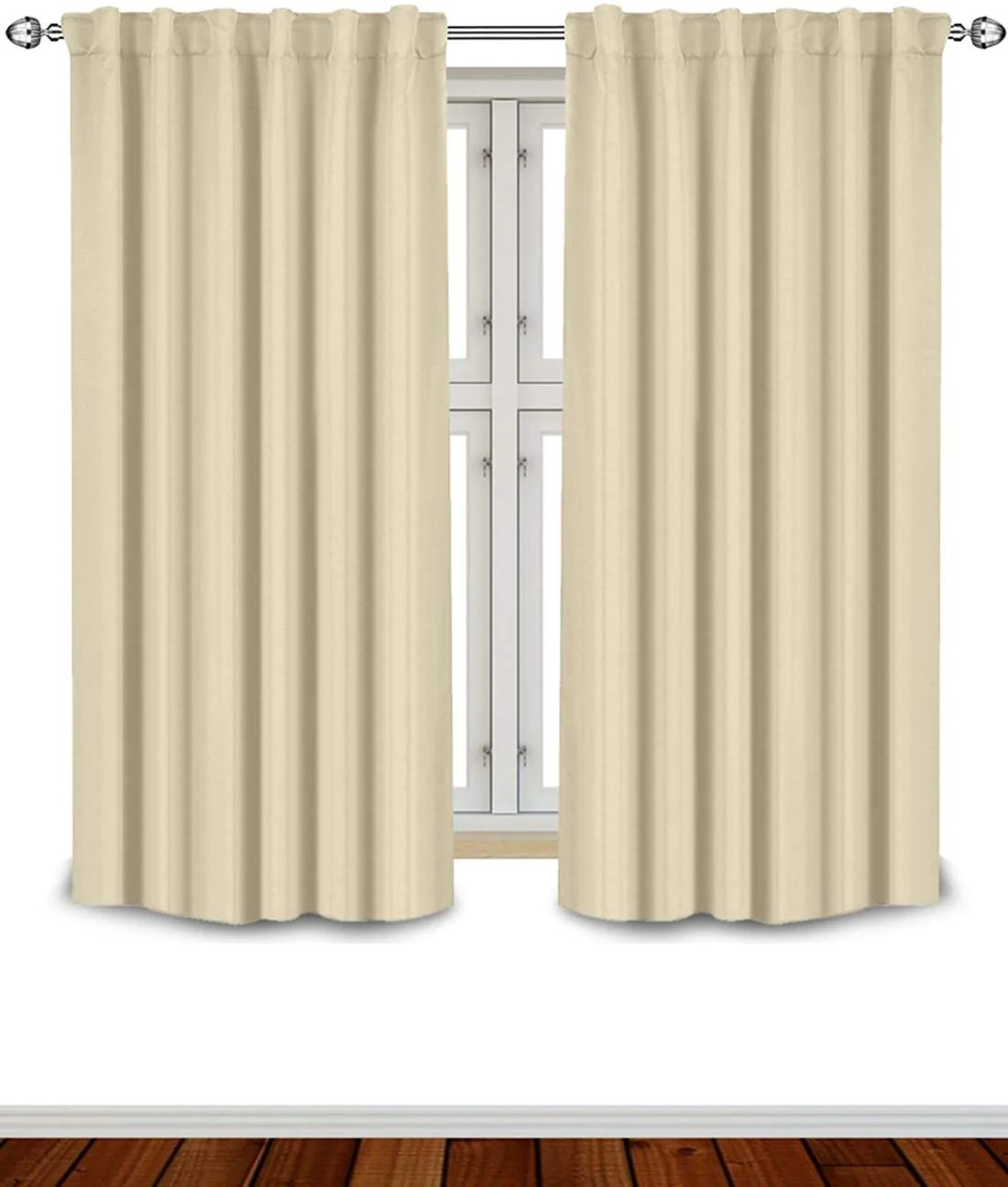 thermal insulated blackout curtains with 7 back loops per panel by utopia bedding rod pocket style 52 x 63 inches beige