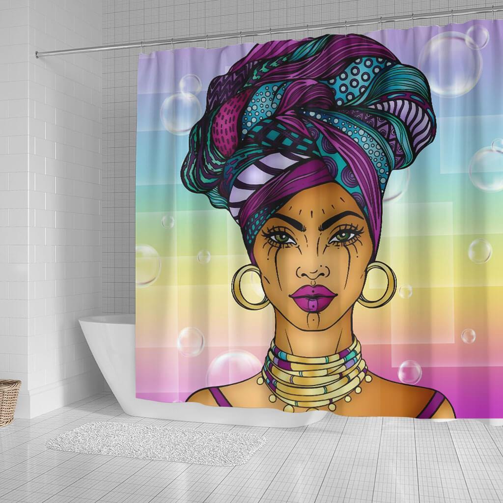 beautiful african woman shower curtain
