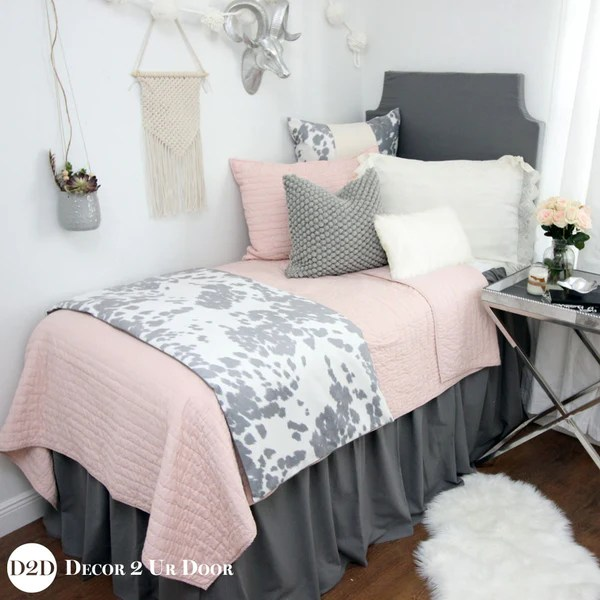 Flamingo Grey Dorm Bed Skirt and Dorm Headboard Bundle