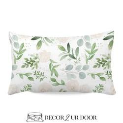 pastel floral eucalyptus lumbar nursery throw pillow cover