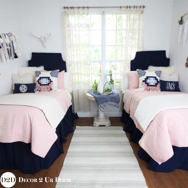 Navy Blush Pink Pillow Pile Boho Bedding Navy And Pink Bedding Decor 2 Ur Door