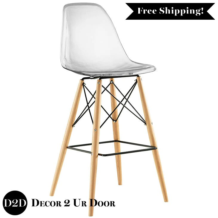 ghost bar chair upholstered parsons dining chairs modern clear acrylic stool with wooden legs decor 2 ur door