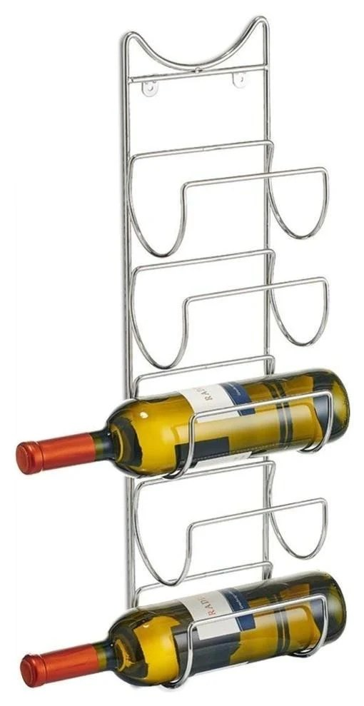contemporary wall mounted wine rack chrome plated steel 5 bottle capacity