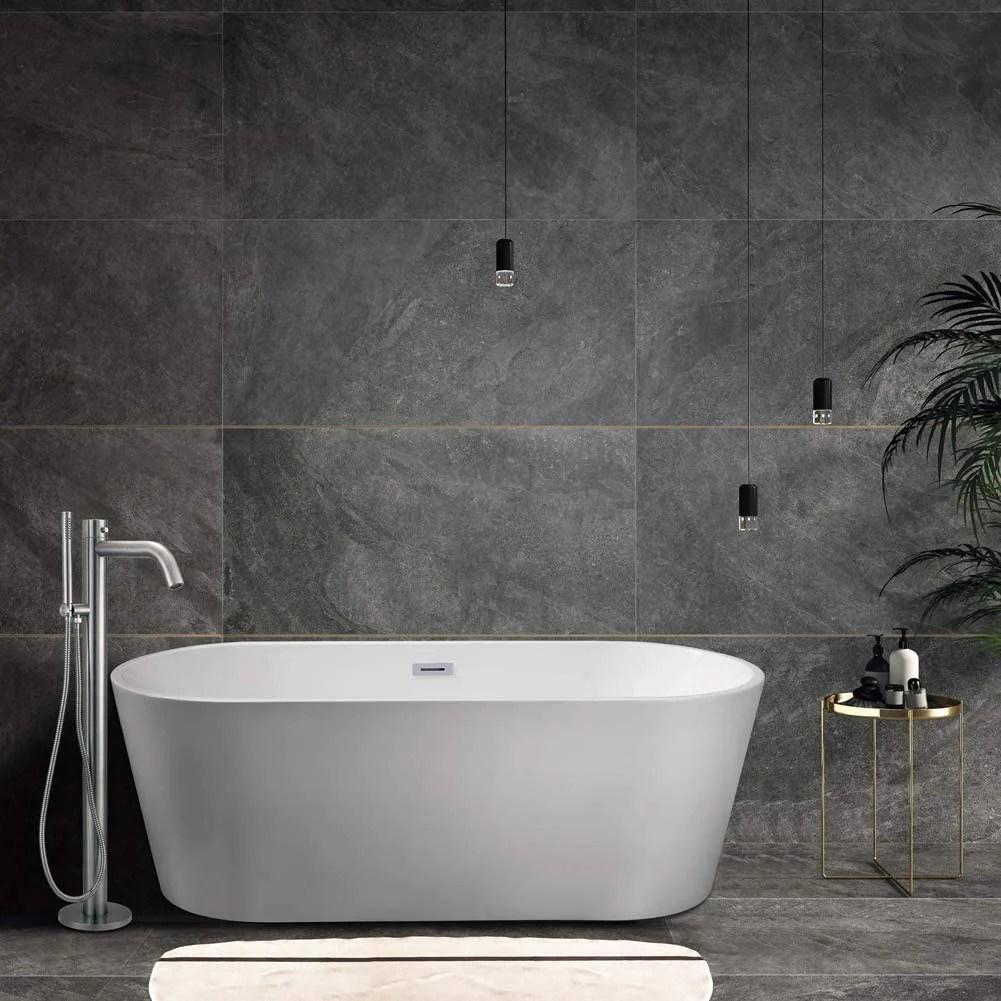 heatgene bathtub faucet freestanding tub filler floor mounted with handheld shower matte finishing