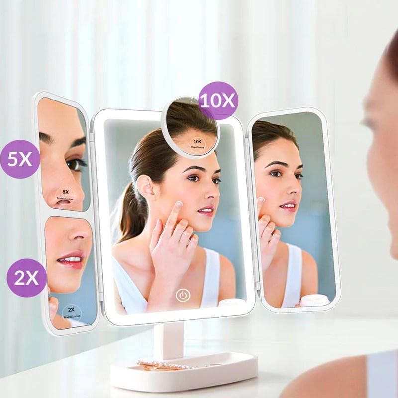 Miroir Maquillage Grossissant Lumineux A Led X2 X5 X10 Shidora M10 Shidora
