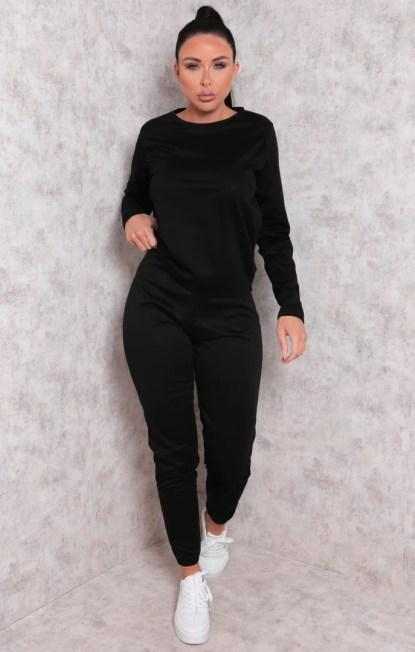 Black Long Sleeve Boxy Cuffed Joggers Loungewear Set - Amor