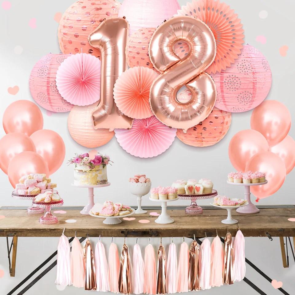 18th birthday decorations rose