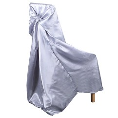 Chair Covers Universal Wooden Youth Satin Cover Silver