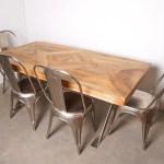 Lombok Artisan Cross Leg Mango Wood Dining Table Metal Chairs Thrifted Furniture