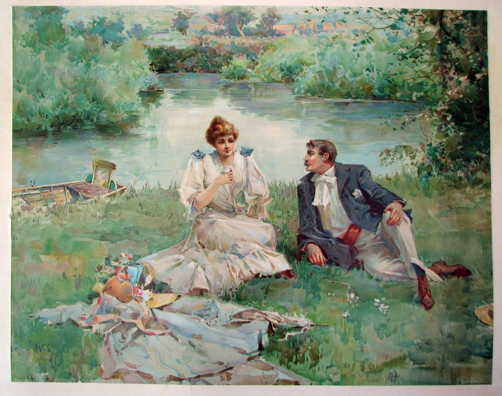 1890s Antique Victorian Fashion  Courting Vintage Poster