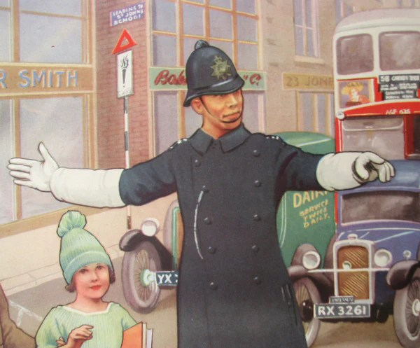 1930s British Road Signs Constable Vintage Childrens Police Officer  Vintage Poster Works