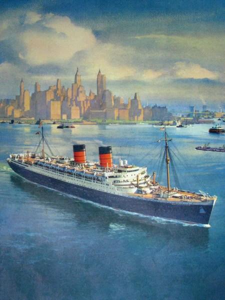 1950s Mauretania Cunard Ocean Liner Vintage Travel Ship