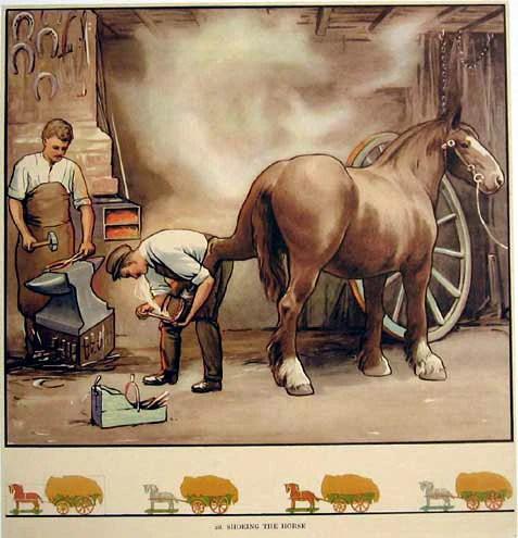 1930s Blacksmith Clydesdale Horse Original Vintage