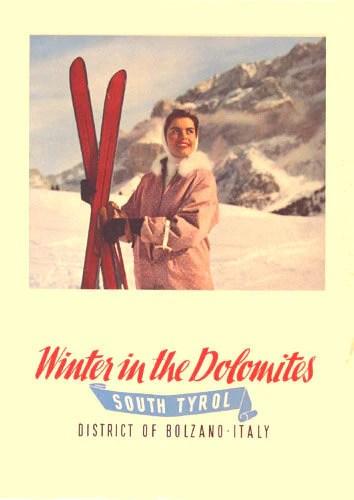 1950s Dolomites Tyrol Italian Vintage Ski Poster