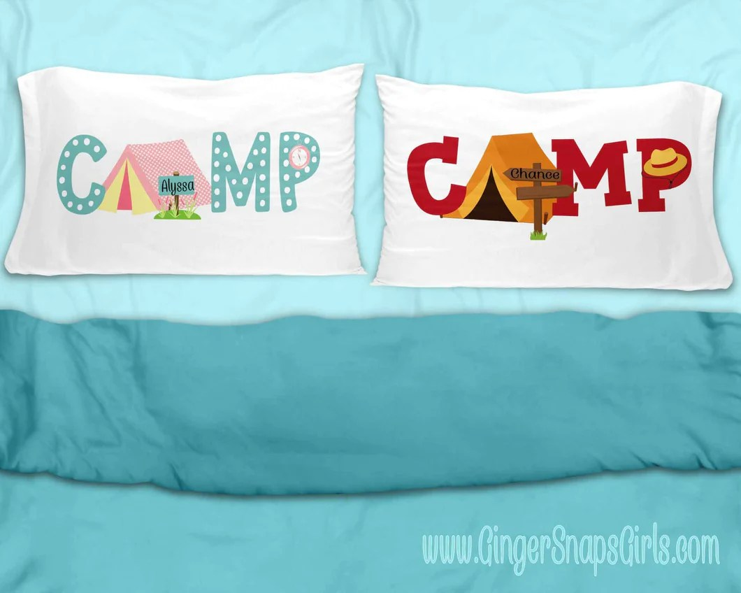 custom camp boy or girl pillow case sublimation transfers