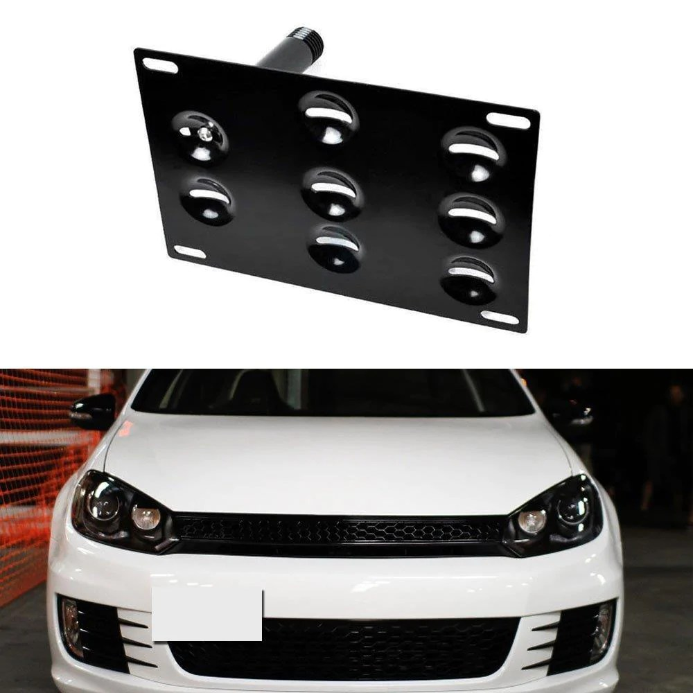 no drill front bumper tow hook license plate mounting bracket adapter kit for volkswagen vw mk5 [ 1000 x 1000 Pixel ]
