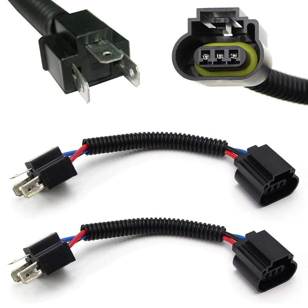 h4 9003 to h13 9008 pigtail wire wiring harness adapters for h4 h13 headlight conversion [ 1000 x 1000 Pixel ]