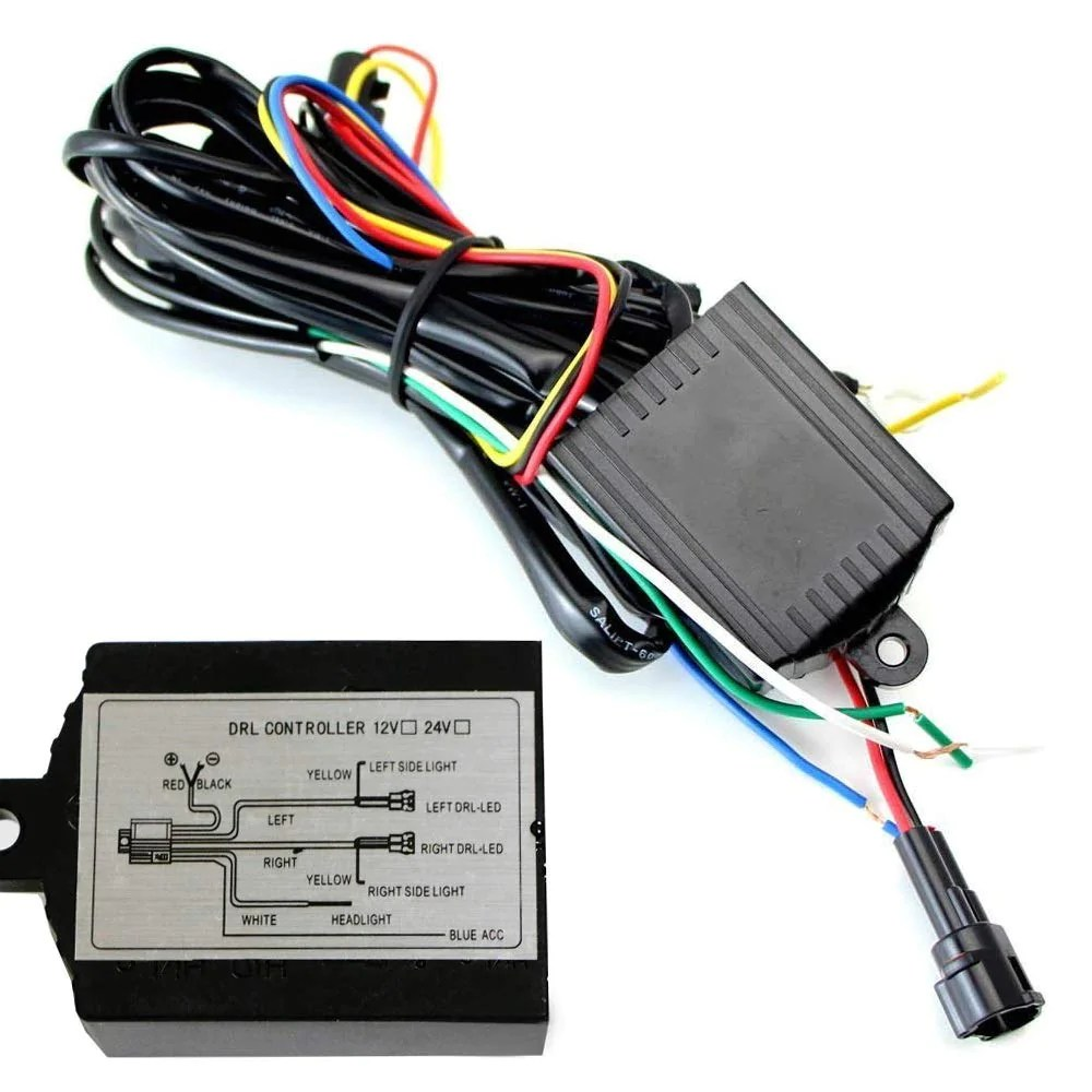 universal led daytime running light automatic on off controller module box relay ijdmtoy [ 1000 x 1000 Pixel ]