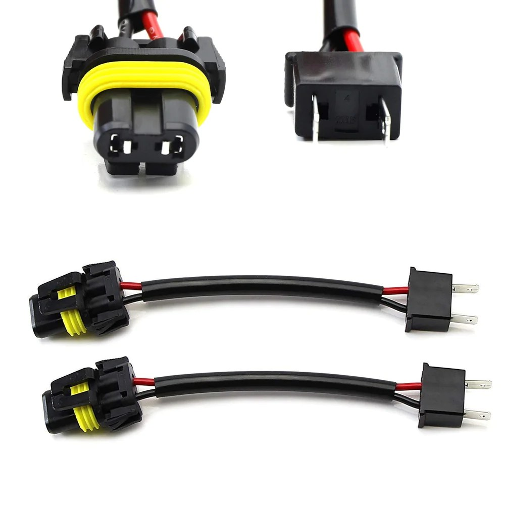 h7 to 9005 9006 hb4 pigtail wire wiring harness adapters for headlight conversion retrofit [ 1000 x 1000 Pixel ]