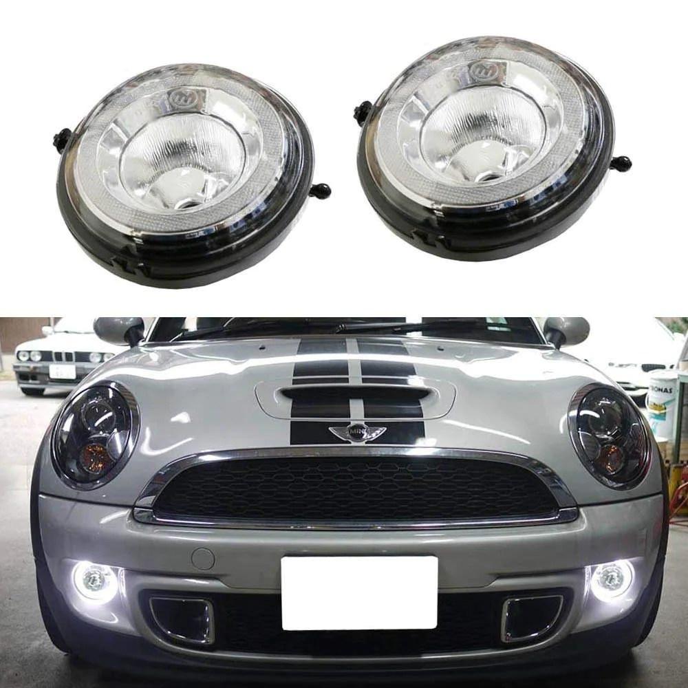 xenon white led daytime running lights fog lamps assy for mini cooper r55 r56 r57 r59 [ 1000 x 1000 Pixel ]