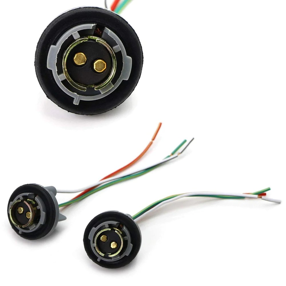 1157 2057 2357 7528 metal socket base w pigtail wiring harness for turn signal [ 1000 x 1000 Pixel ]