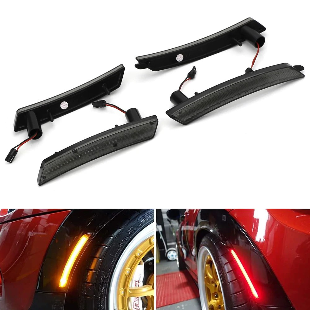 medium resolution of smoked lens amber red full led side marker light kit for 2007 2013