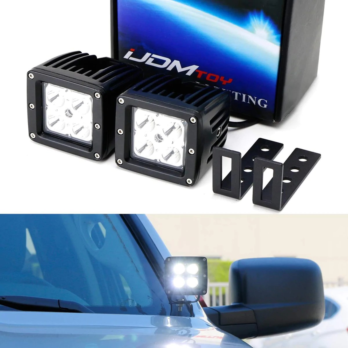 small resolution of  2015 up chevy silverado colorado gmc sierra canyon includes 2 20w cree led cubes windshield a pillar mounting brackets on off switch wiring kit