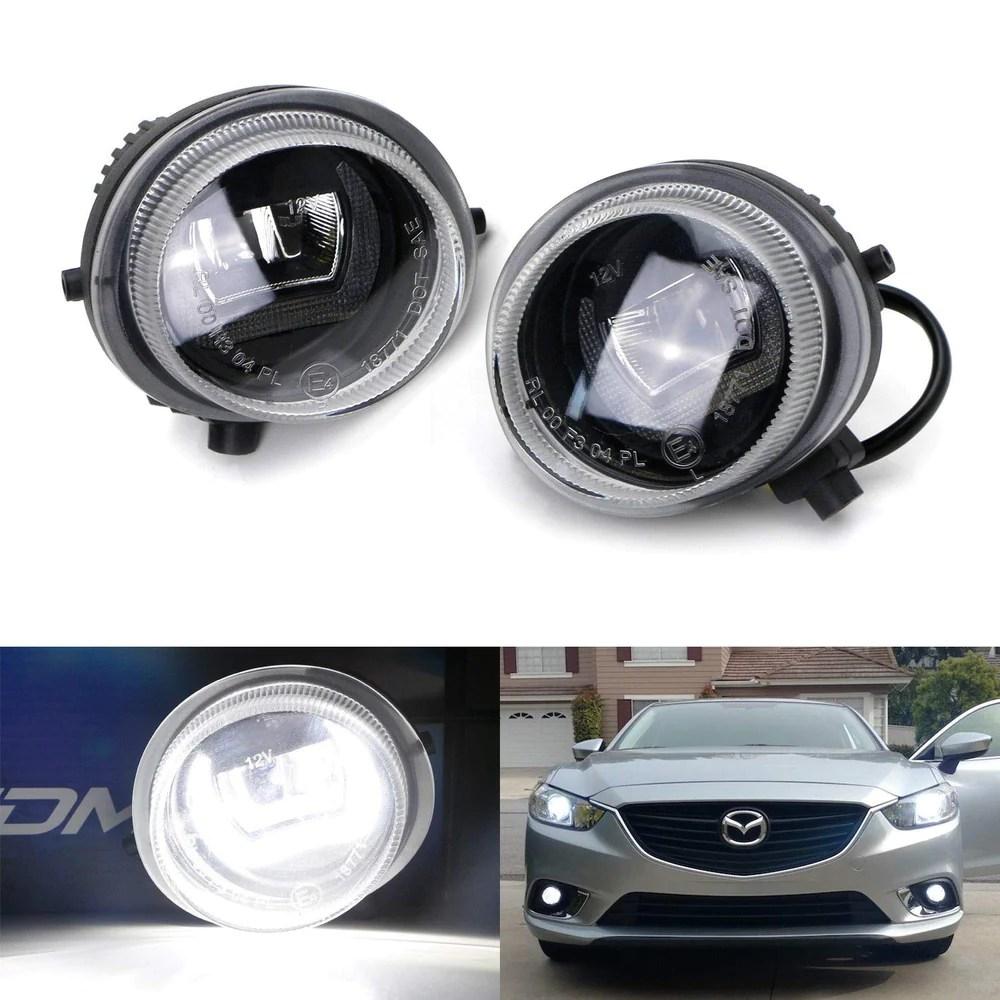 xenon white led daytime running light fog lamps for mazda 2 3 6 cx 5 [ 1000 x 1000 Pixel ]