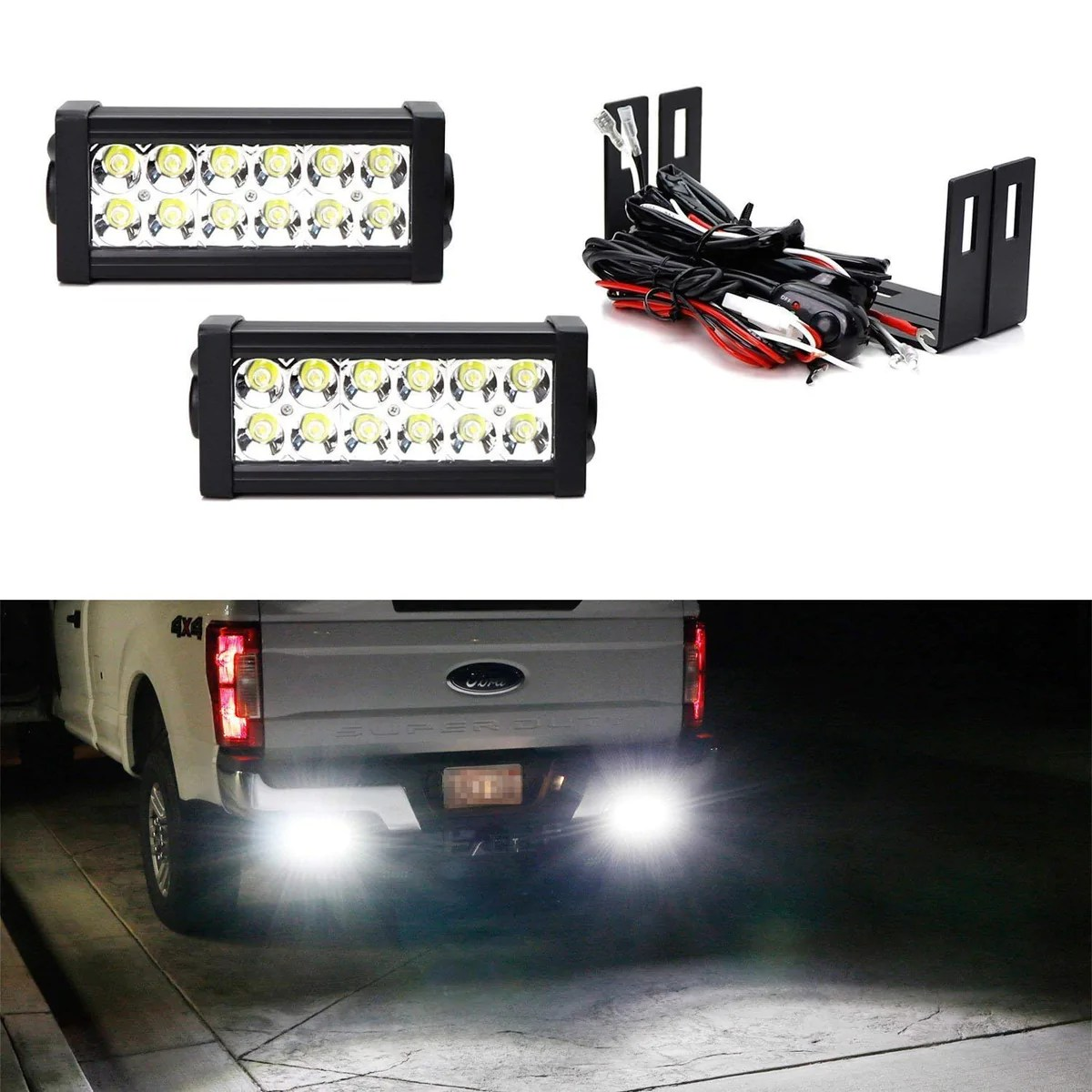 hight resolution of rear bumper mount searchlight reverse led light bar kit for 2011 up ford f250 f350 f450 super duty 2 36w high power led lightbars bumper frame mounting