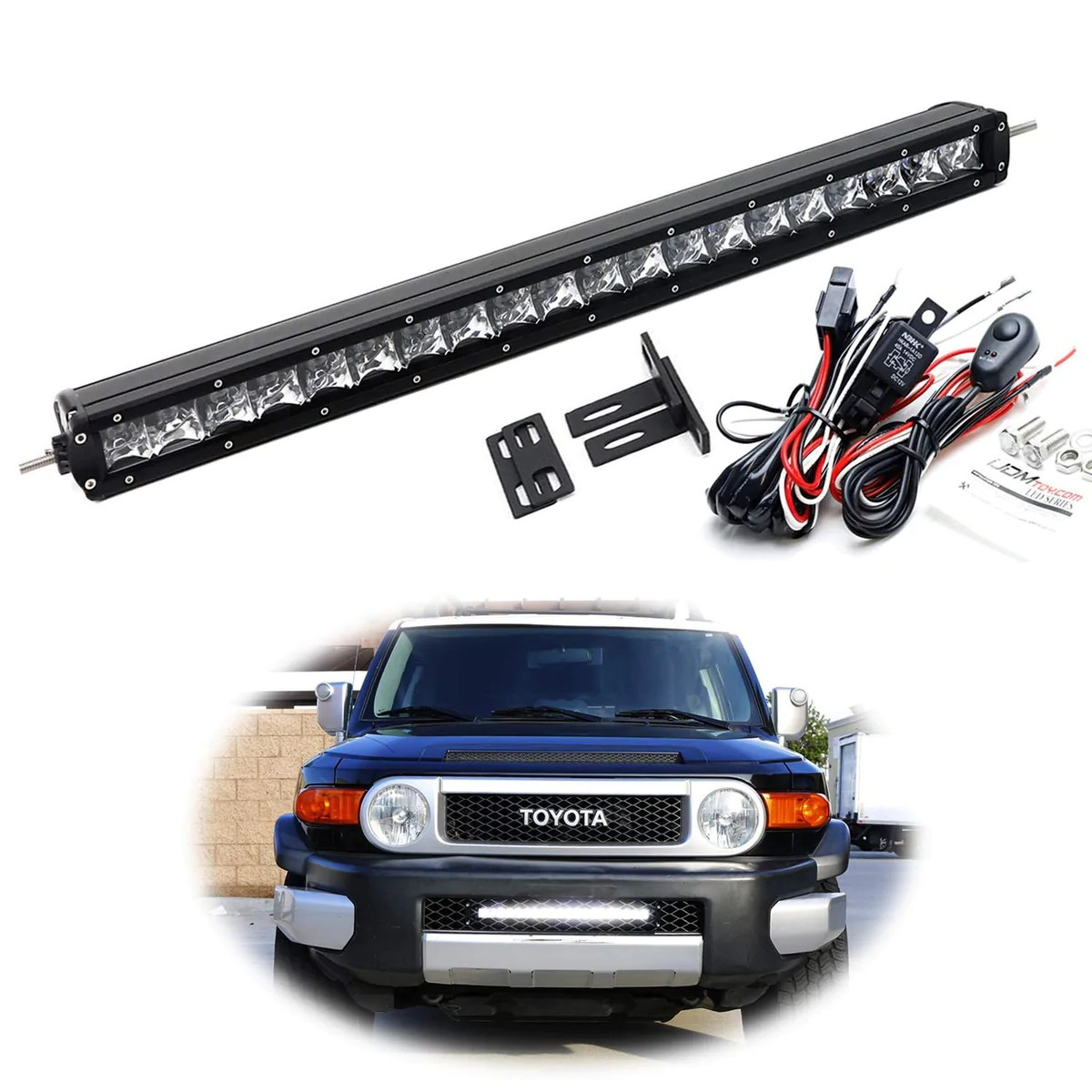 small resolution of  20 led light bar kit for 2007 14 toyota fj cruiser includes 1 100w high power cree led lightbar mesh mounting brackets on off switch wiring kit