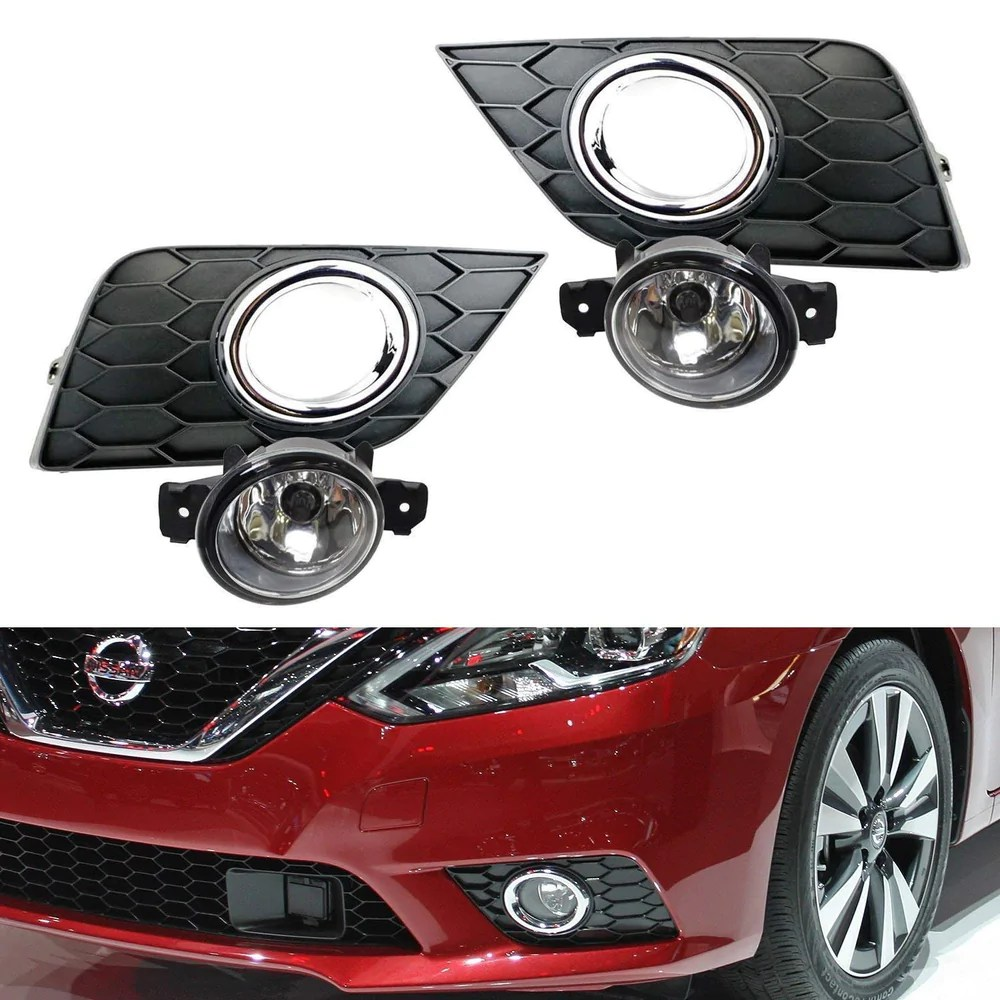 hight resolution of complete set clear or yellow lens fog lights foglamp kit for 2016 up nissan sentra