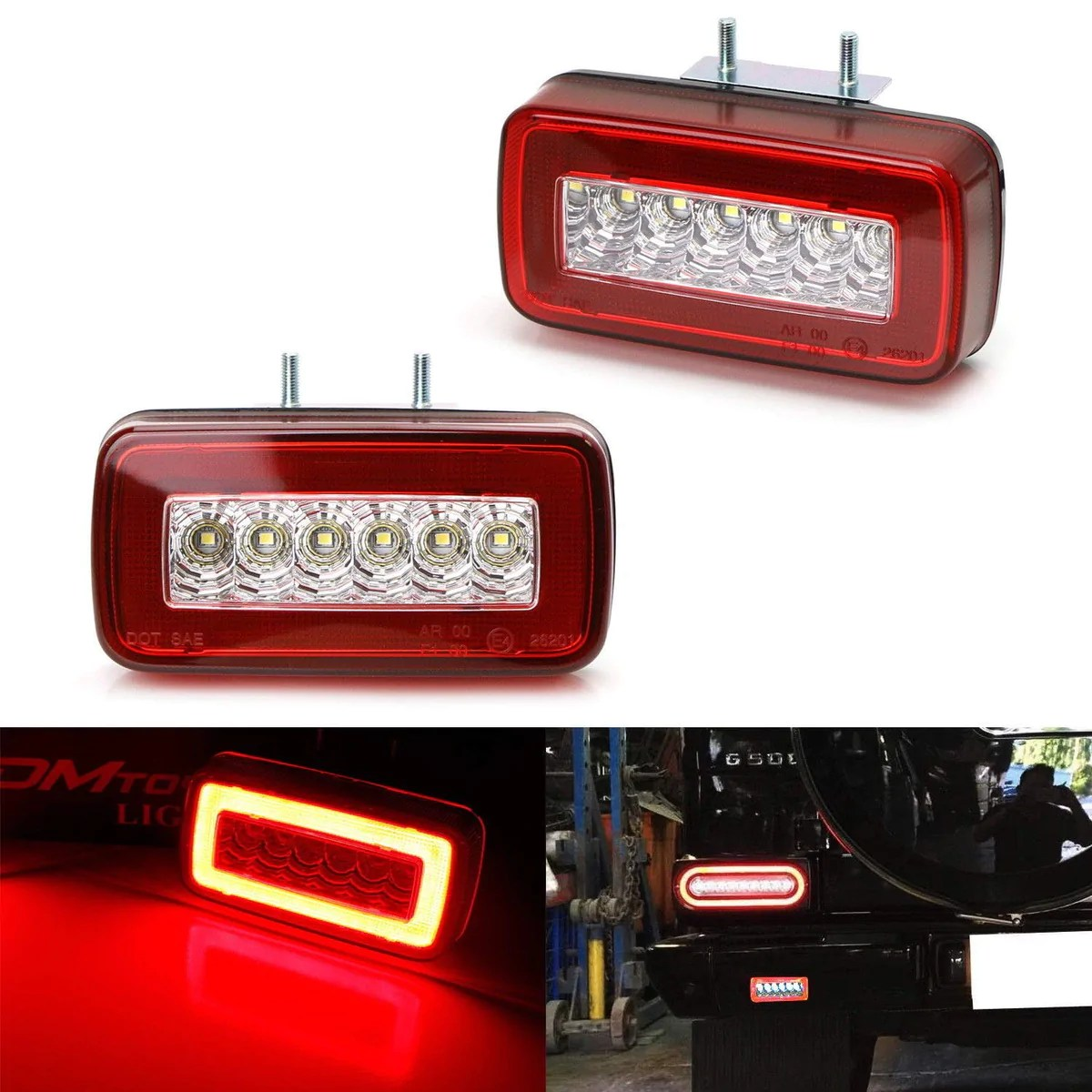 red or smoked lens 3 in 1 led rear fog backup light kit for 1986 2018 mercedes benz w463 g class g500 g550 g55 g63 amg functions as rear fog driving brake  [ 1200 x 1200 Pixel ]