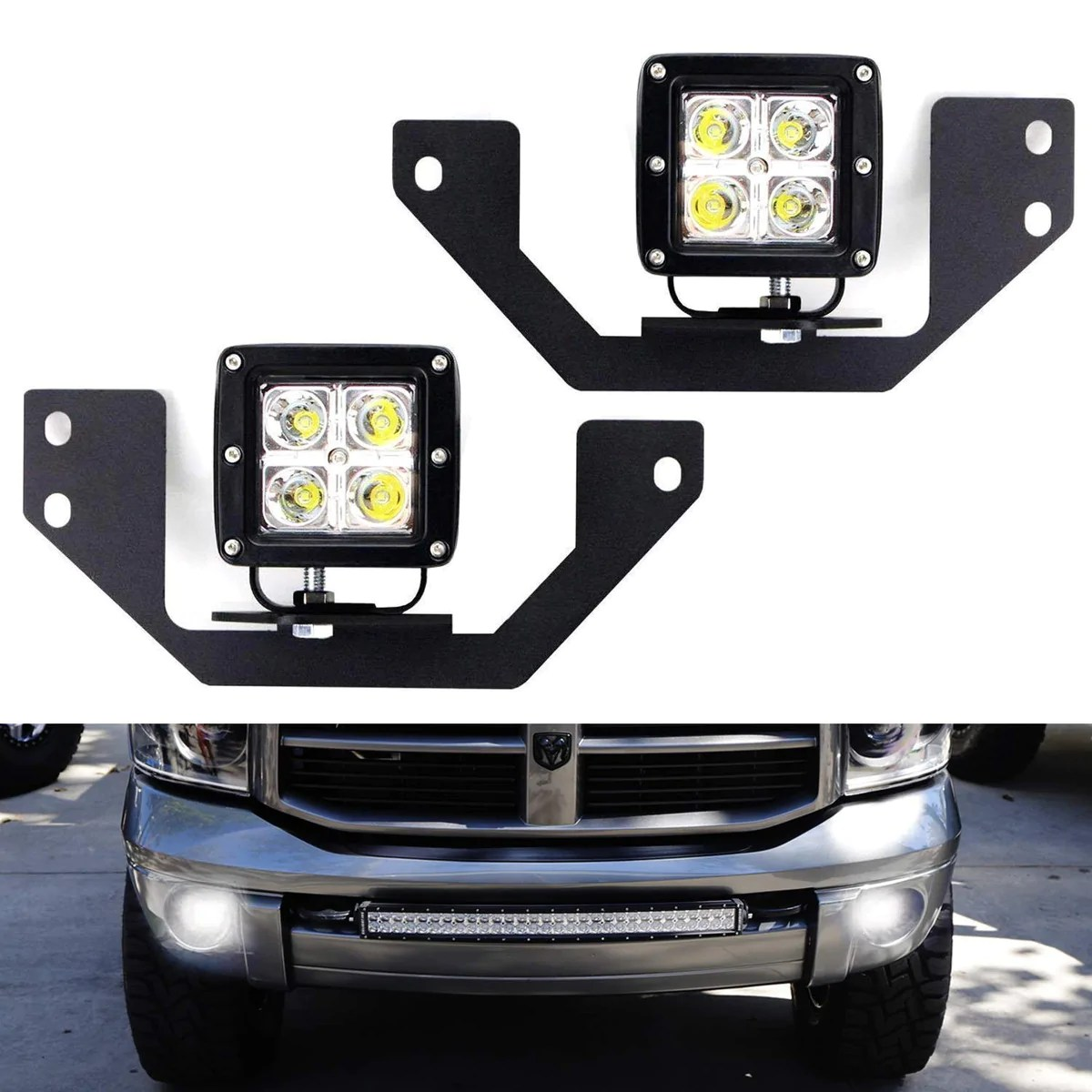 dodge ram 1500 2500 3500 durango led pod light fog lamp kit ijdmtoy com [ 1200 x 1200 Pixel ]